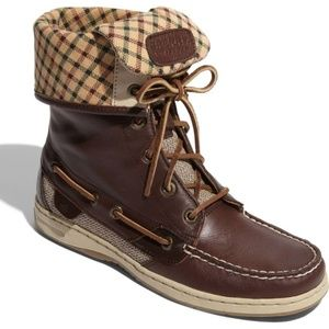 Ladyfish Leather Boat Shoe Boot Lace Up Plaid Cuff